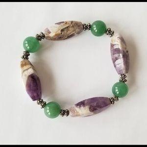 Amethyst and jade bracelet